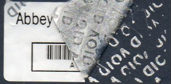 Single Colour Silver Tamper-evident 'VOID asset label